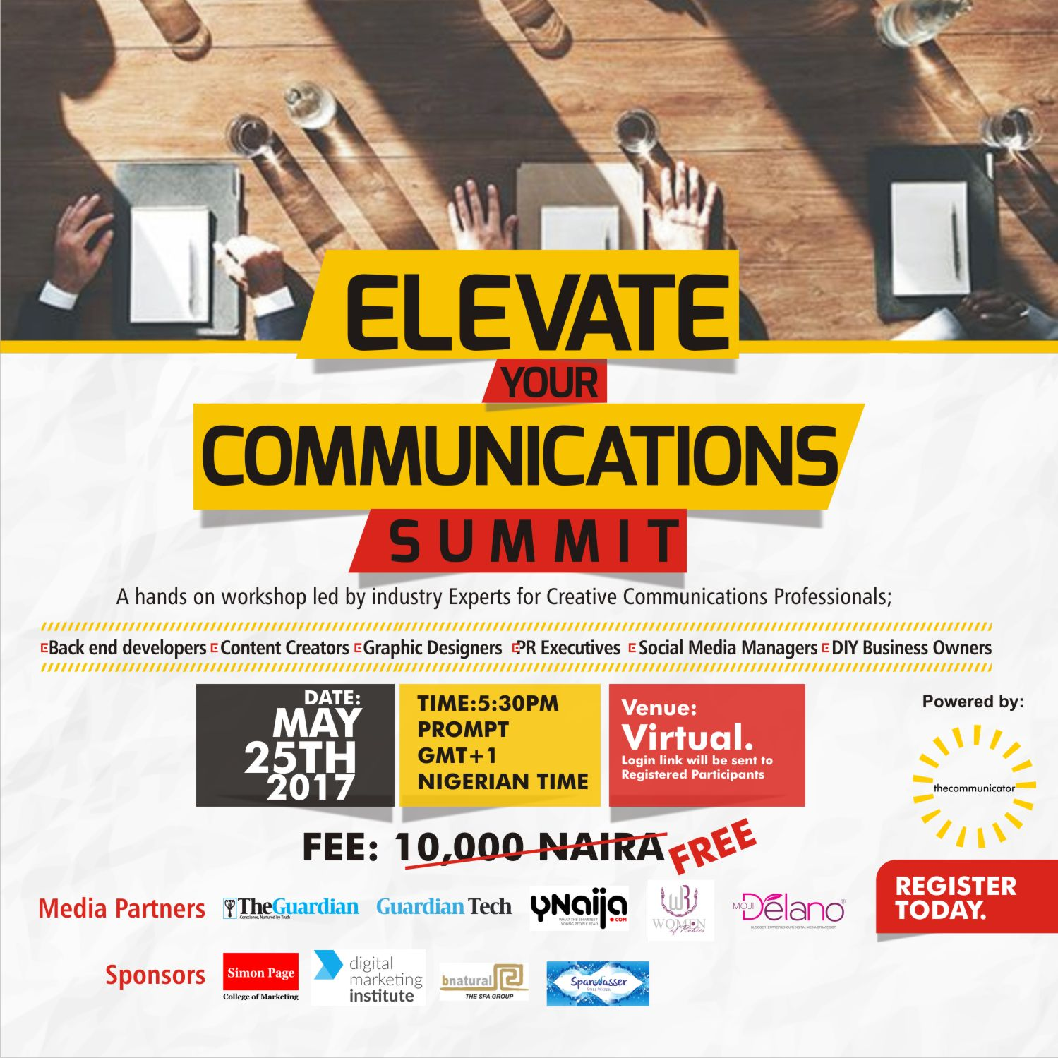 COMMUNICATIONS SUMMIT SET TO TRAIN YOUNG CREATIVE PROFESSIONALS