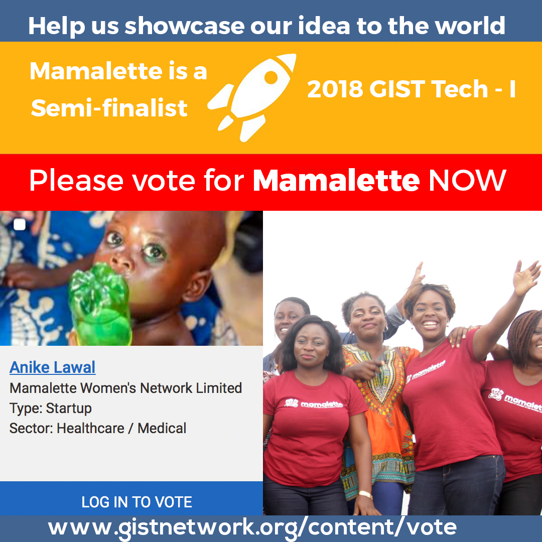 MAMALETTE HAS BEEN SELECTED AS A SEMIFINALIST FOR THE GLOBAL GIST TECH-I COMPETITION 2018