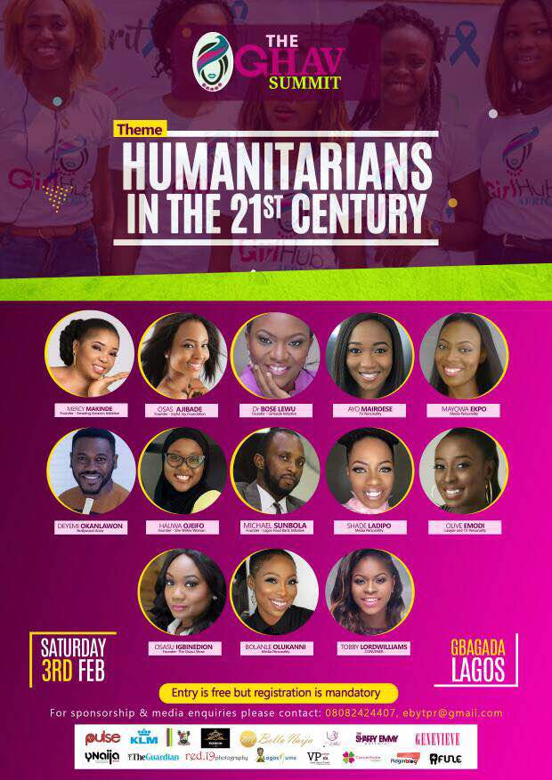 THE GHAV SUMMIT; A PANEL MIXER ON HUMANITARIANISM IN THE 21ST CENTURY SET TO HOLD ON FEBRUARY 3